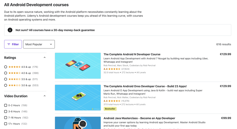Android development courses on Udemy