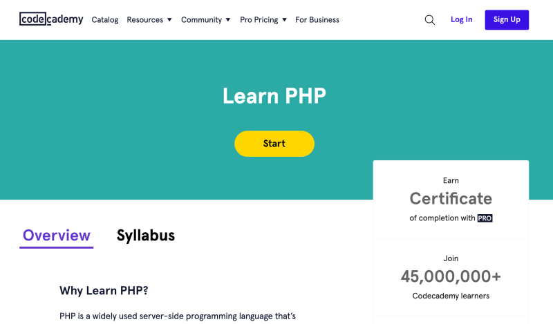 Learn PHP with Codecademy – Web development courses for beginners