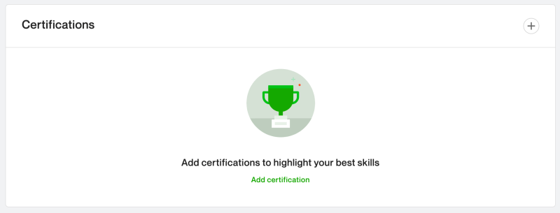 Add relevant certifications to your Upwork profile