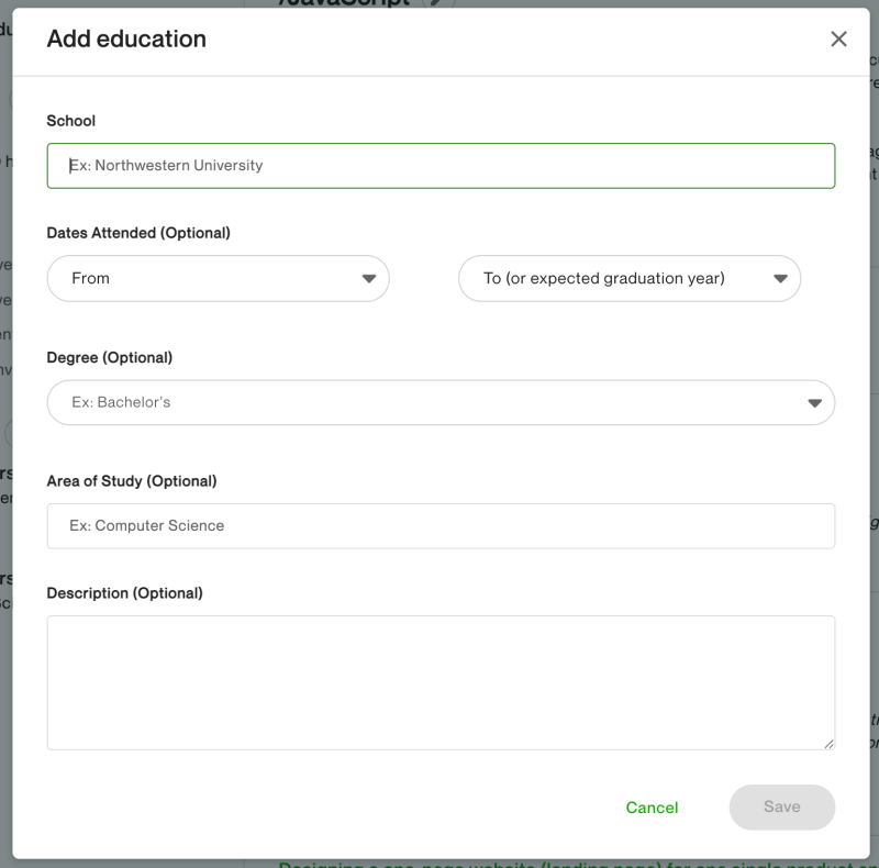 Add your education information to your Upwork freelancer profile