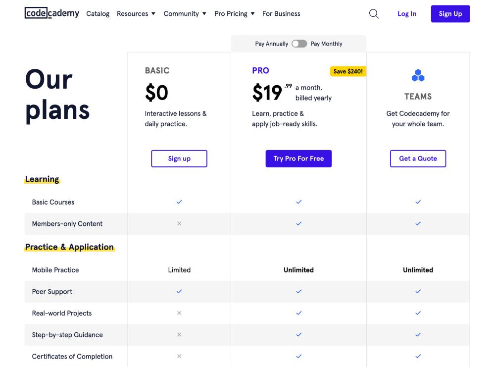 Codecademy Pricing