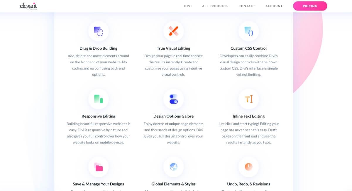 Divi theme features