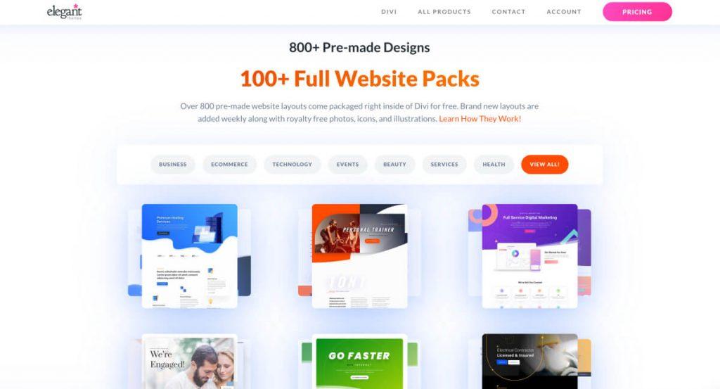 Divi theme pre-made website pack design templates
