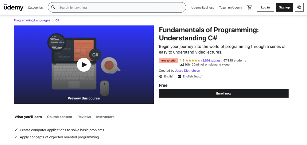 Free coding course for beginners - Fundamentals of Programming - Understanding C Sharp