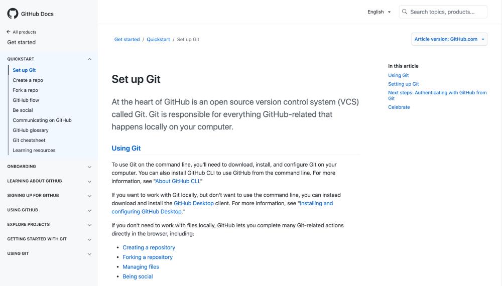 GitHub Docs - Set up Git
