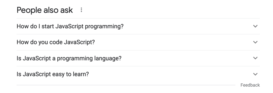 Google search results - Questions people ask about JavaScript programming