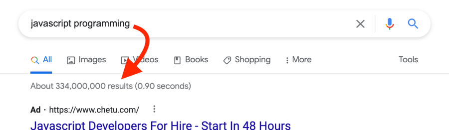 Google search results for JavaScript programming
