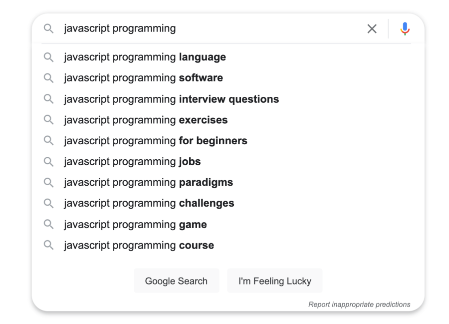Google suggested keywords for JavaScript programming