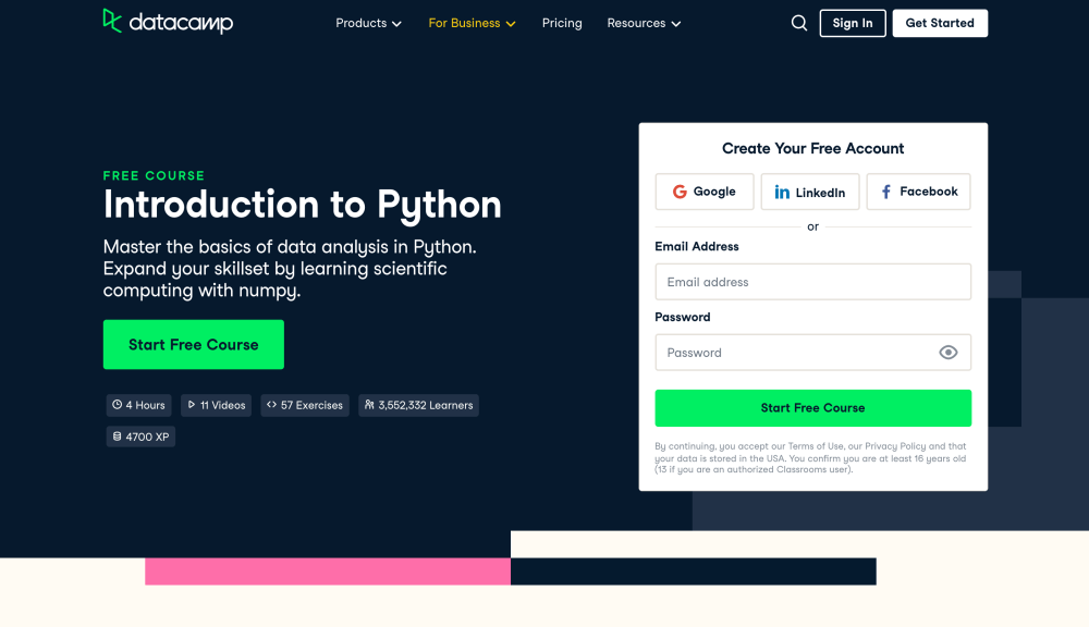 Introduction to Python - Free Python coding course on Datacamp