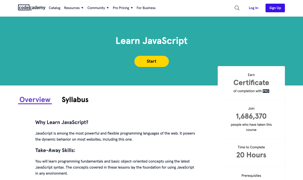 Learn JavaScript - Free coding course on Codecademy