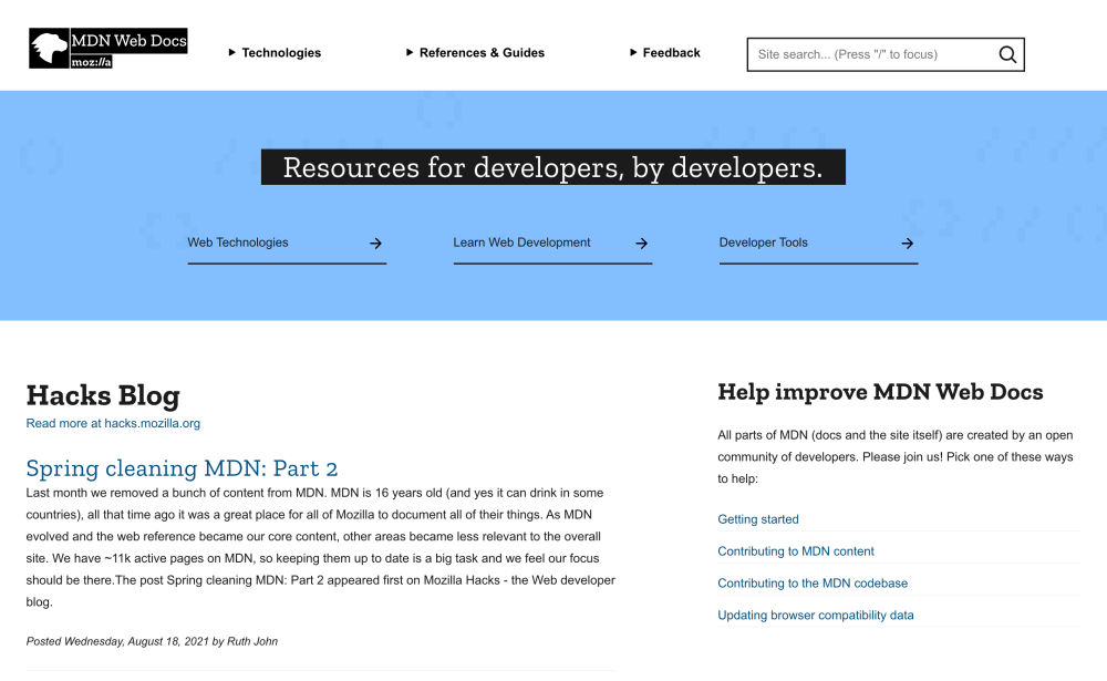 MDN Web Docs - Resources for developers