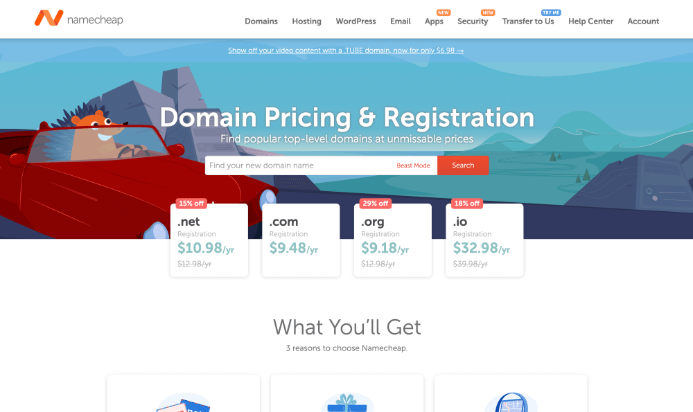 Namecheap domain pricing and registration