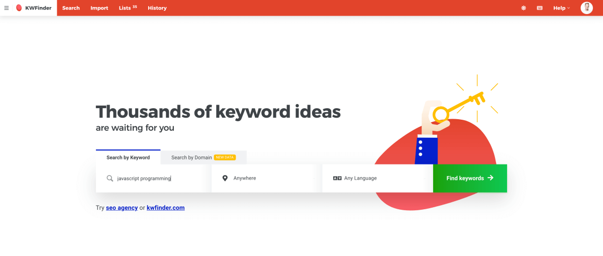 Search by keyword JavaScript programming with KWFinder