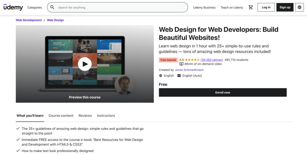 Web Design for Web Developers - Build Beautiful Websites - Free course on Udemy