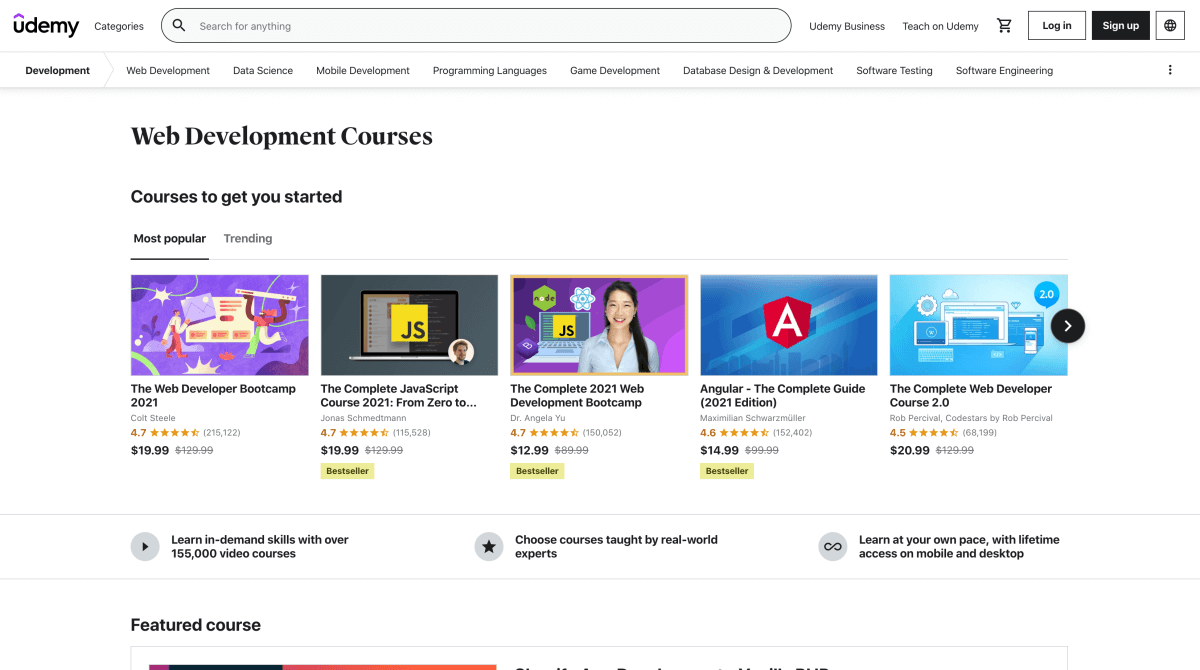 Web development courses on Udemy
